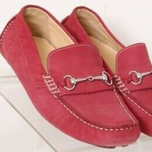 Cole Haan Red Suede Hoarse Bit Driving Loafers